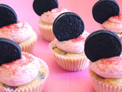 Lauren Torrisi's strawberry Oreo cupcakes are shown here.