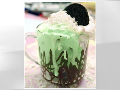 Lauren Torrisi's coconut mint Oreo sundae is shown here.