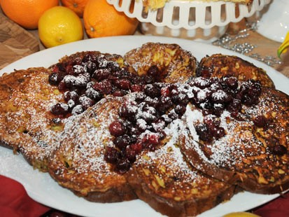 PHOTO: Mario Batalis panettone french toast with cranberry maple syrup is shown here.