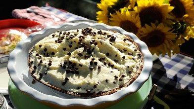 PHOTO: Cream pie with chocolate chips on top.