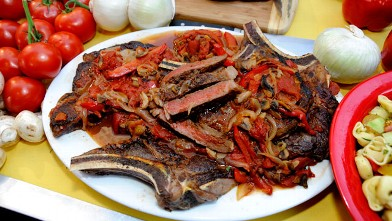 PHOTO: Rao's grilled steak pizzaiolo is shown here.
