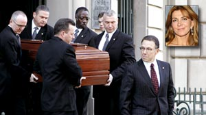 PHOTO Pallbearers carry the casket of actress Natasha Richardson, shown in this inset file photo, from the American Irish Historical Society in New York on Saturday, March  21,  2009.