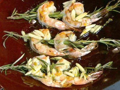 Michael Symon's rosemary shrimp with almonds is shown here.