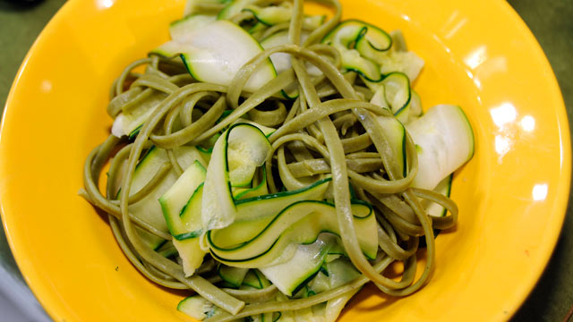 PHOTO: Supersize Spinach Fettuccini with Zucchini Ribbons.