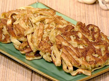 Mario Batali's tagliatelle pancakes are shown here.
