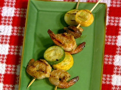 PHOTO: Daphnes shrimp vegetable skewers are shown here.