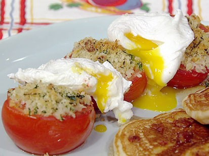 Michael Symon's bacon pancakes, tomatoes and eggs are shown here.