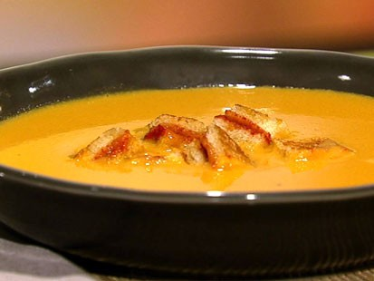 Carla Hall's tomato soup with grilled cheese croutons is shown here.