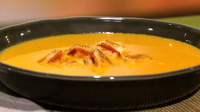 cheese topped croutons tomato orange soup with grilled cheese croutons ...