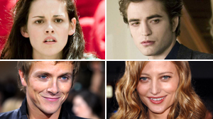 "PHOTO Clockwise form top left, some of the actors from the film ""New Moon"" are shown: Kristen Stewart, Robert Pattinson, Noot Seear, and Charlie Bewley are shown."