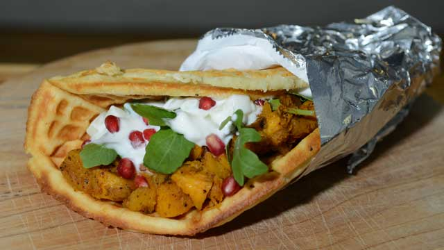 PHOTO: The spicy roast pumpkin sandwich from Waffle and Wolf is shown here.