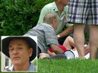 VIDEO: Bill Murray tickles a woman after hitting her with a golf ball.