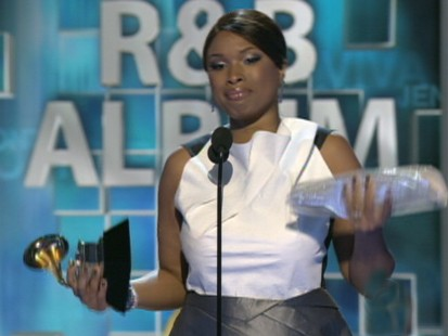 VIDEO: Jennifer Hudson gets emotional at Grammy Awards.