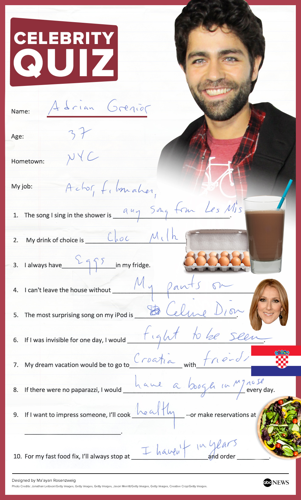 adrian grenier the abc news quiz in his handwriting
