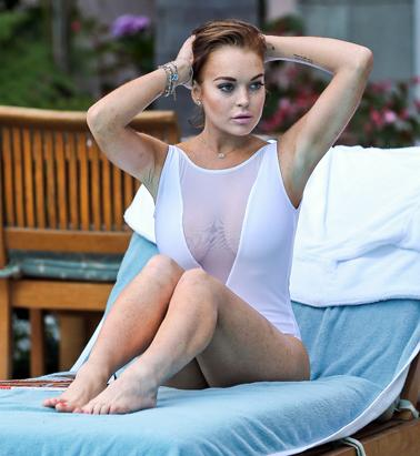 Lindsay Lohan's Sheer Swimsuit
