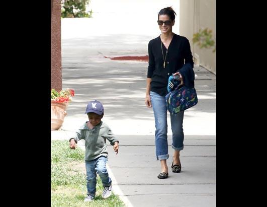 Sandra Bullock Picks Up Son From School