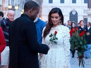 Photos: Kim K Wears Bridal-Inspired Dress