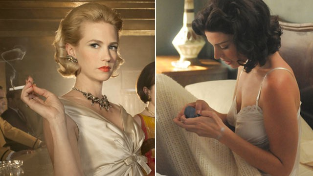 PHOTO: Betty Draper, played by January Jones and Megan played by Jessica Pare are seen here in the AMC TV show Mad Men.