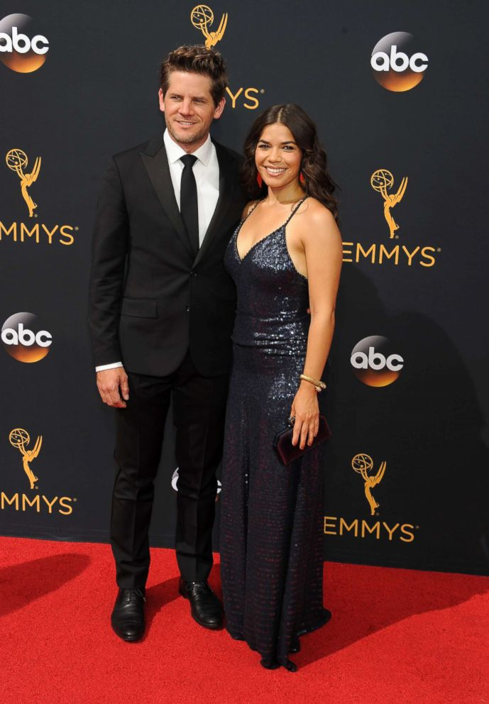 PHOTO: Actress America Ferrera and husband Ryan Piers Williamson attend the 68th Annual Primetime Emmy Awards, Sept. 18, 2016 in Los Angeles.