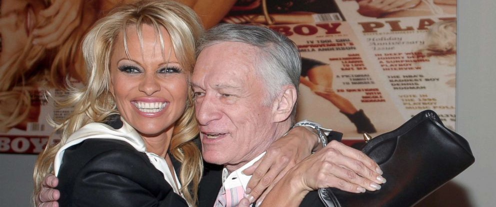 PHOTO: Pamela Anderson and Hugh Hefner during the of Playboy Legacy Collection at Republic in Los Angeles.