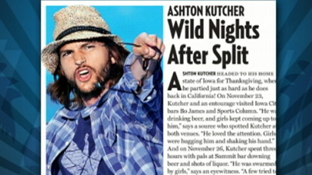 VIDEO: Kutcher partied in Iowa while Moore spent a quiet night with a friend.