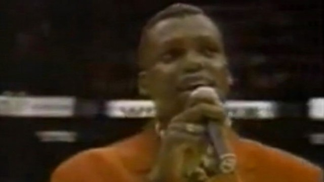 VIDEO: Olympic champion couldn't outrun his performance of the national anthem at the 1993 NBA finals.