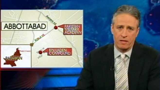 VIDEO: The Daily Show host makes light of Osama Bin Ladens death location.