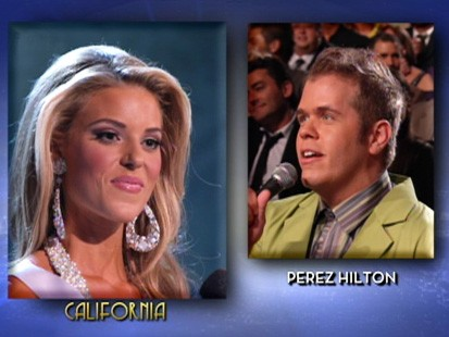 VIDEO: Perez Hilton makes fun of Miss California for her comments about gay marriage.