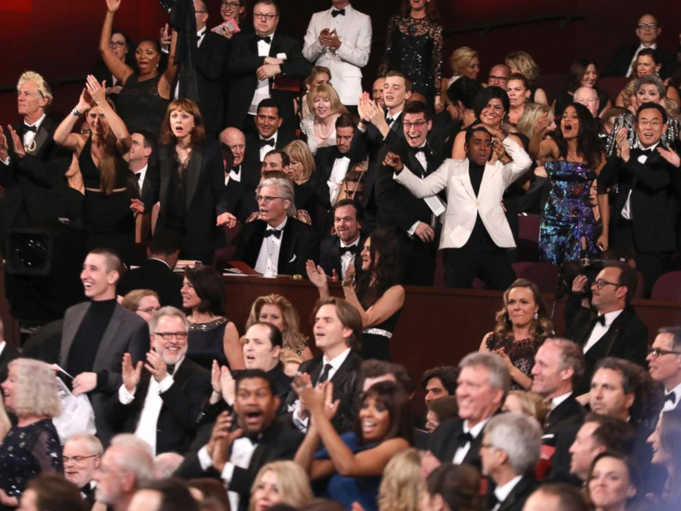 PHOTO: The cast of Moonlight celebrates as Moonlight wins the best picture award at the Oscars on Sunday, Feb. 26, 2017, at the Dolby Theatre in Los Angeles.