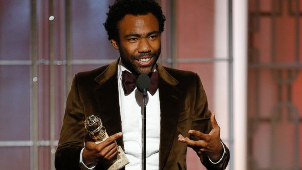 PHOTO: Donald Glover accepts the award for best actor in a TV comedy series for
