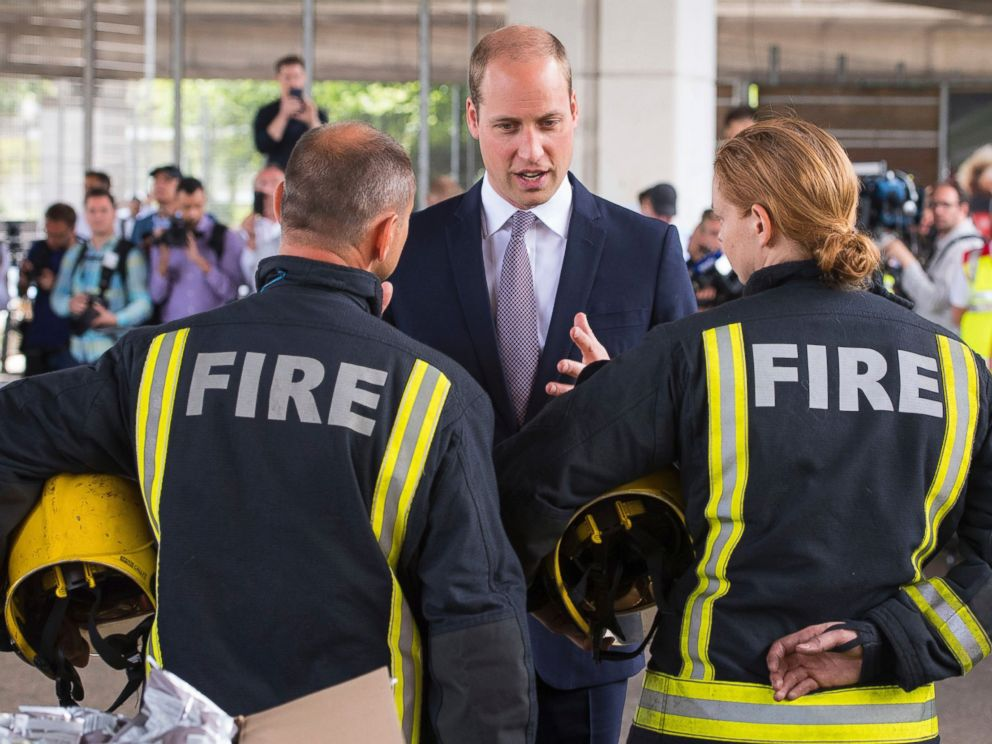 PHOTO: Britains Prince William meets firefighters near Grenfell Tower, in London, June 16, 2017.