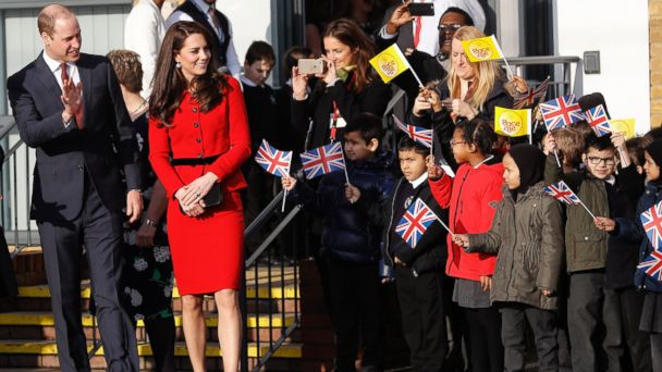 PHOTO: Kate, The Duchess of Cambridge and Prince William, left, leave after attending 'The Big Assembly' by Place2Be hosted at Mitchell Brook Primary School in London, Feb. 6, 2017.