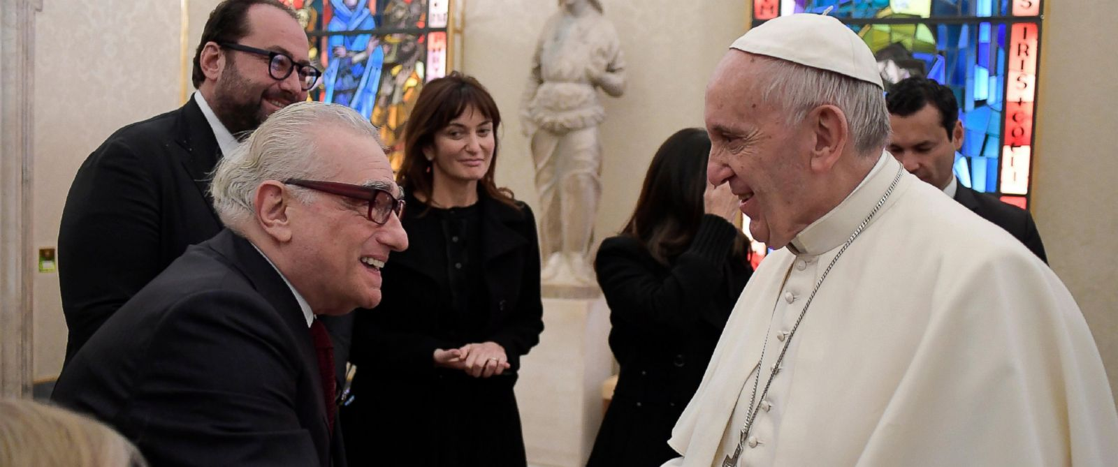 PHOTO: Pope Francis shakes hands with director Martin Scorsese, left, during their private audience at the Vatican, Nov. 30, 2016.