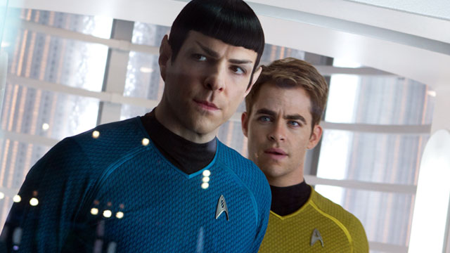 "PHOTO: This undated publicity film image released by Paramount Pictures shows, Zachary Quinto, left, as Spock and Chris Pine as Kirk in a scene in the movie, ""Star Trek Into Darkness,"" from Paramount Pictures and Skydance Productions."