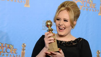 "PHOTO: Adele poses with the award for best original song in a motion picture for ""Skyfall"" backstage at the 70th Annual Golden Globe Awards at the Beverly Hilton Hotel, Jan. 13, 2013, in Beverly Hills, Calif."