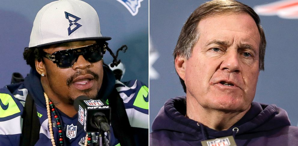 PHOTO: Marshawn Lynch and Bill Belichick during a news conference, Jan. 29, 2015.