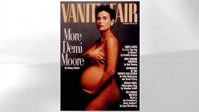 PHOTO: Demi Moore nude and pregnant in a portrait by celebrity photographer Annie Leibovitz on the cover of Vanity Fair.