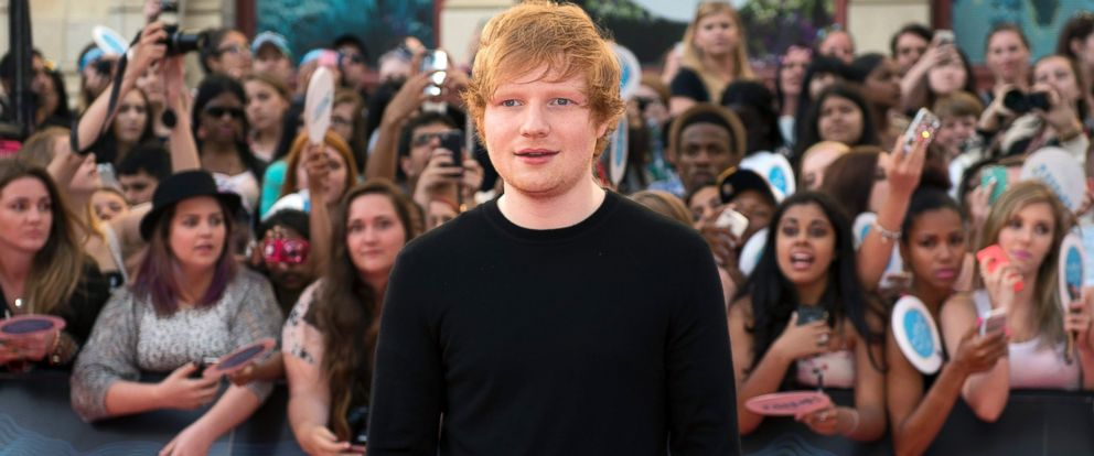 PHOTO: Ed Sheeran arrives on the red carpet at the 2014 Much Music Video Awards in Toronto on June 15, 2014.