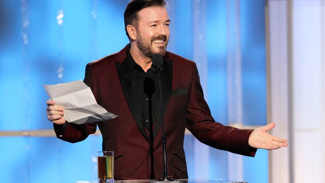 PHOTO: Host Ricky Gervais speaks during the 69th Annual Golden Globe Awards, Sunday, Jan. 15, 2012 in Los Angeles.