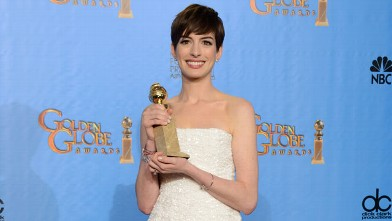 PHOTO: Anne Hathaway poses with the award for best performance by an actress in a supporting role in a motion picture in &quot;Les Miserables&quot; backstage at the 70th Annual Golden Globe Awards, Jan. 13, 2013, in Beverly Hills, Calif.