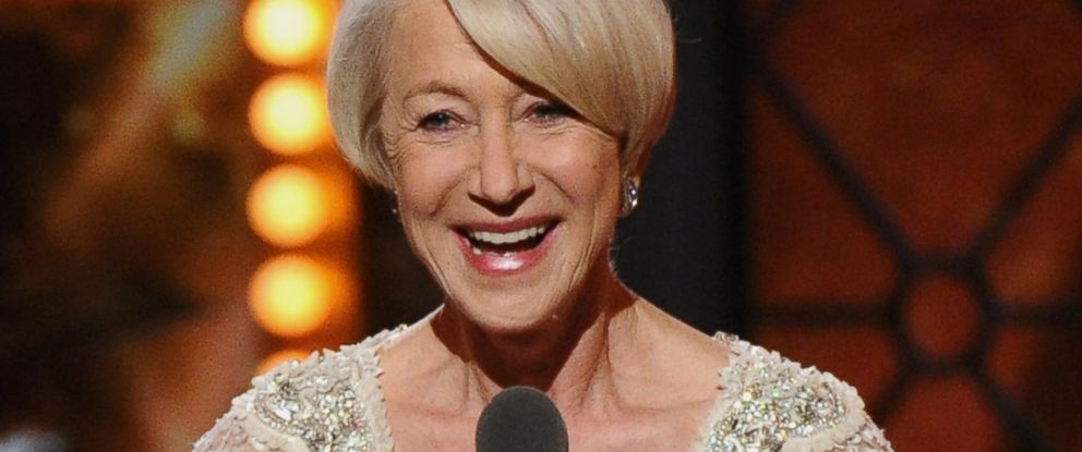 "PHOTO: Helen Mirren accepts the award for performance by an actress in a leading role in a play for ""?The Audience""? at the 69th annual Tony Awards at Radio City Music Hall, June 7, 2015, in New York."