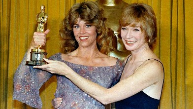 PHOTO: Jane Fonda, the Oscar Winner for Best Actress in &quot;Coming Home,&quot; with presenter Shirley Maclaine in this April 9, 1979 file photo at the 51st  Academy Awards in Los Angeles.