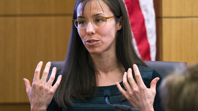 Jodi Arias gestures toward the jury, March 5, 2013, in Maricopa County ...