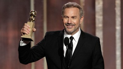 "PHOTO: Kevin Costner with his award for best actor in a mini-series or TV movie for his role in ""Hatfields & McCoys,"" on stage during the 70th Annual Golden Globe Awards at the Beverly Hilton Hotel, Jan. 13, 2013, in Beverly Hills, Calif."