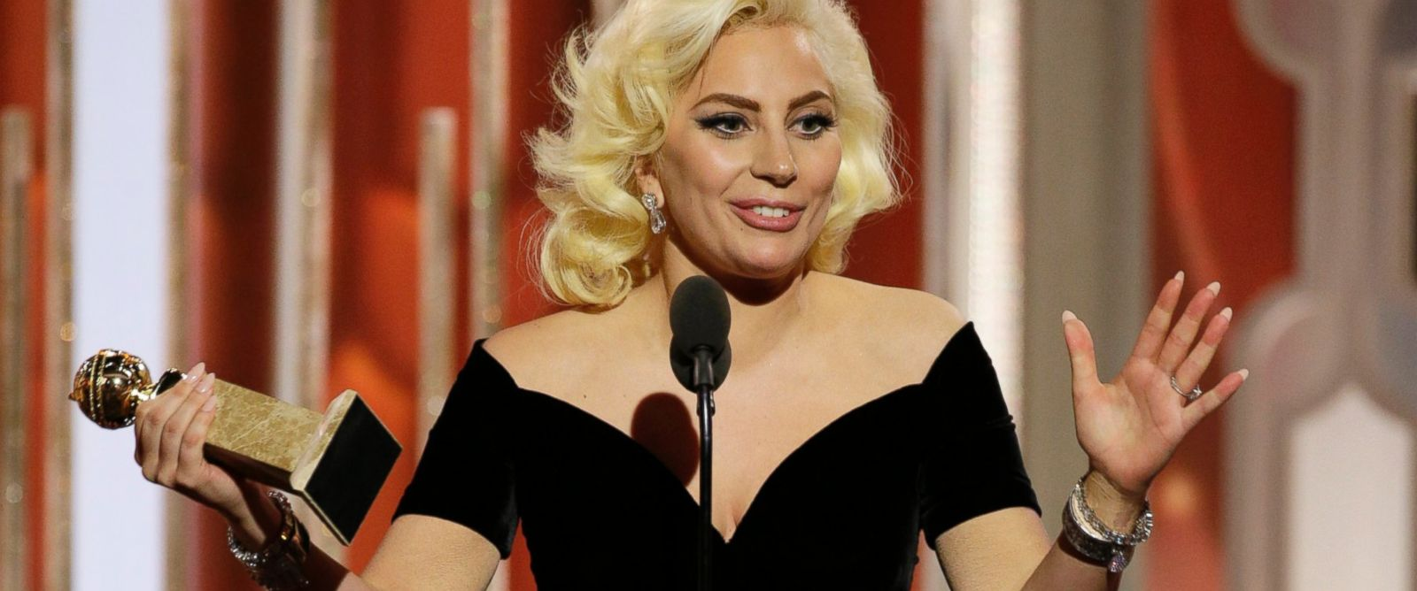 "PHOTO: Lady Gaga accepts the award for best actress in a limited series or TV movie for her role in, ""American Horror Story: Hotel"", at the 73rd Annual Golden Globe Awards at the Beverly Hilton Hotel in Beverly Hills, Calif., on Jan. 10, 2016."