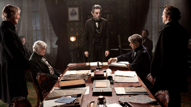 "PHOTO: Daniel Day-Lewis, center rear, as Abraham Lincoln, is seen in a scene from the film, ""Lincoln."""