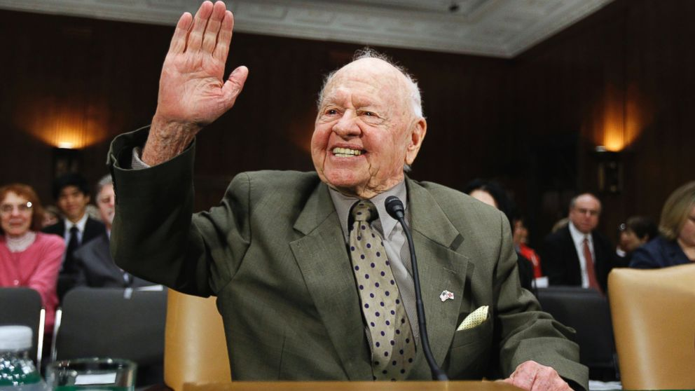 PHOTO: In this March 2, 2011, file photo, entertainer Mickey Rooney waves on Capitol Hill in Washington, prior to testifying about elder abuse before the Senate Aging Committee. Rooney, a Hollywood legend whose career spanned more than 80 years, has died.