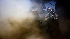 "PHOTO: Navy SEALs are seen fighting through a dust storm in the new thriller directed by Kathryn Bigelow, ""Zero Dark Thirty."""