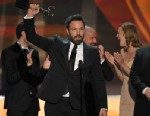 "PHOTO: Ben Affleck, center, and the cast of ""Argo"" accept the award for outstanding cast in a motion picture at the 19th Annual Screen Actors Guild Awards at the Shrine Auditorium in Los Angeles on Sunday Jan. 27, 2013."