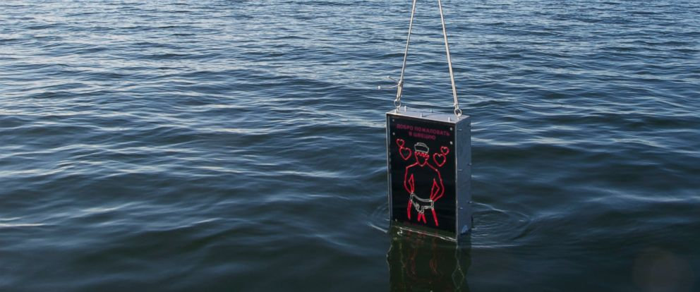 PHOTO: An underwater defense device, a gay-themed sonar system, is lowered into the water in the archipelago, April 27, 2015, outside Stockholm, Sweden.